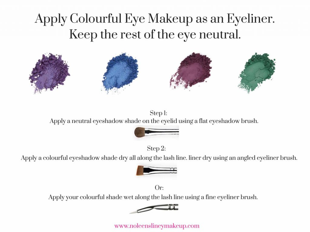 Colourful eyeshadow shades are great to use an eyeliner. And a really great alternative to using a black or brown shade. They'll give a beautiful pop of colour.