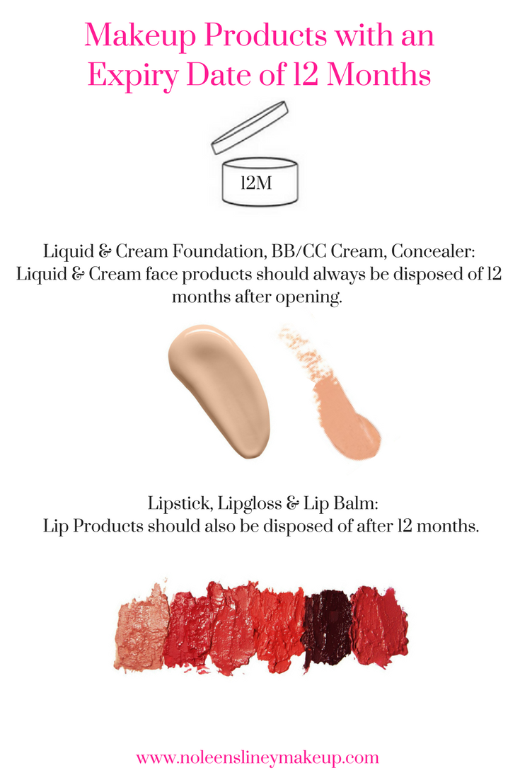 Liquid & cream products have makeup expiration dates of 12 months or less. This includes lipsticks, foundations, concealers and bb & cc creams.