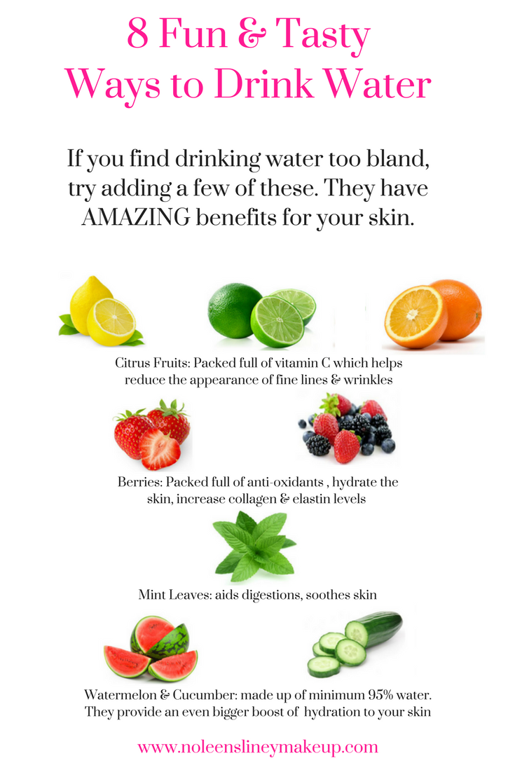 Drinking plenty of water is THE best anti-aging treatment around. But if you find drinking water a bit bland, here are a few fun & VERY tasty ways to drink water. And these have even more added benefits for your skin too.