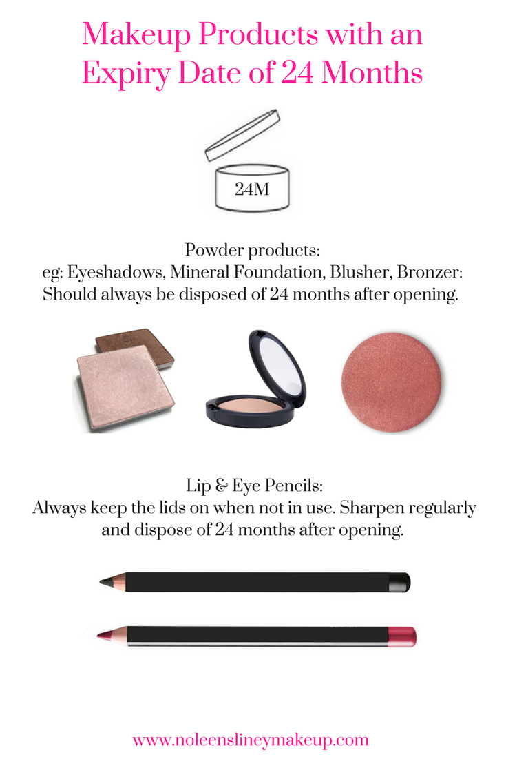 Powder products and pencils have makeup expiration dates of 2 years. These include eyeshadow, blusher, bronzer and lip and eye pencils.